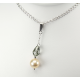 Pendentif Argent Massif Swarovski Black Diamond et Perle Pêche
