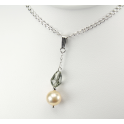 Pendand 925 Sterling Silver Rhodium plated Swarovski Black Diamond Crystal and Peach Freshwater Pearl