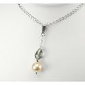 Pendentif Argent Massif Rhodié Swarovski Black Diamond et Perle d'eau douce Pêche
