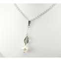 Pendentif Argent Massif Rhodié Swarovski Black Diamond et Perle d'eau douce Blanche