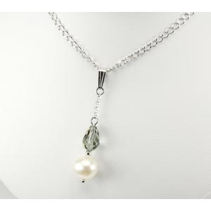 Pendentif Argent Massif Swarovski Black Diamond et Perle Blanche