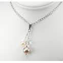 Pendand 925 Sterling Silver Rhodium plated Swarovski Aurora Borealis Crystal with Lavender and White Freshwater Pearl