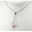 Pendentif Argent Massif Rhodié Swarovski Aurore Boréale et Perles d'eau douce Lavande et Blanche