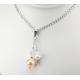 Pendentif Argent Massif Swarovski Aurore Boréale et Perles Pêche et Blanche