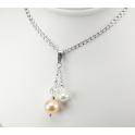 Pendentif Argent Massif Rhodié Swarovski Aurore Boréale et Perles d'eau douce Pêche et Blanche