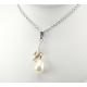 Pendentif Argent Massif Swarovski Goutte Golden Shadow et Perle Blanche