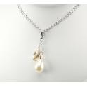 Pendentif Argent Massif Rhodié Swarovski Goutte Golden Shadow et Perle d'eau douce Blanche