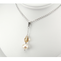 Pendentif Argent Massif Rhodié Swarovski Light Colorado et Perle d'eau douce Blanche