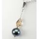 Pendentif Argent Massif Swarovski Light Colorado et Perle Noire
