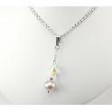 Pendentif Argent Massif Rhodié Swarovski Aurore Boréale et Perle d'eau douce Lavande