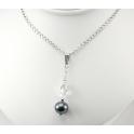 Pendentif Argent Massif Rhodié Swarovski Aurore Boréale et Perle d'eau douce Noire