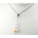 Pendentif Argent Massif Rhodié Swarovski Aurore Boréale et Perle d'eau douce Pêche