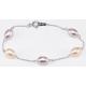 Bracelet Argent Massif Chainette Perle Lavande et Pêche