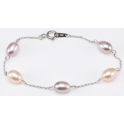 Bracelet 925 Sterling Silver Rhodium plated Lavender and Peach Freshwater Pearl