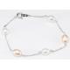 Bracelet Argent Massif Chainette Perle Blanche et Pêche