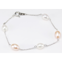 Bracelet 925 Sterling Silver Rhodium plated White and Peach Freshwater Pearl