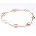 Bracelet Plaqué Or Chainette Perles d'eau douce 3 Couleurs
