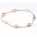 Bracelet Plaqué Or Gold Filled 14 K Chainette Perles d'eau douce 3 Couleurs