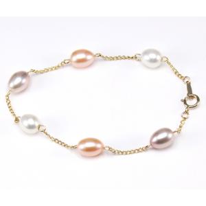 Bracelet Plaqué Or Chainette Perle 3 Couleurs