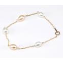 Bracelet Plaqué Or Gold Filled 14 K Chainette Perles d'eau douce Blanche et Pêche