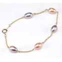 Bracelet 18K Gold Plated Chain Lavender and Peach Freshwater Pearl
