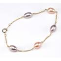 Bracelet Plaqué Or Chainette Perles d'eau douce Lavande et Pêche