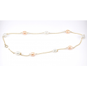 Collier Plaqué Or 18 Carats Chainette Perles d'eau douce Blanche et Pêche