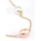 Collier Plaqué Or Chainette Perles Blanche et Pêche