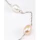 Collier Argent Massif Chainette Perles Blanche et Pêche