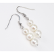 Boucle d'oreille Argent Massif Triple perle Blanche