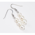 Earring 925 Sterling Silver Rhodium plated Three White Freshwater Pearl