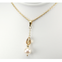 Pendant 14K Gold Filled Swarovski Topaz Crystal and White Freshwater Pearl