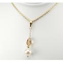 Pendentif Plaqué Or Gold Filled 14 K Swarovski Topaze et Perle d'eau douce Blanche