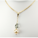 Pendentif Plaqué Or Gold Filled 14 K Swarovski Black Diamond et Perle d'eau douce Pêche