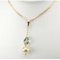 Pendentif Plaqué Or Swarovski Black Diamond et Perle Pêche