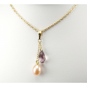 Pendant 14K Gold Filled Swarovski Antic pink Drop and Peach Freshwater Pearl