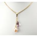Pendentif Plaqué Or Gold Filled 14 K Swarovski Goutte Rose antique et Perle d'eau douce Pêche
