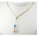 Pendentif  Plaqué Or Gold Filled 14 K Swarovski Aurore Boréale et Perle d'eau douce Lavande