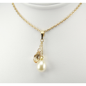 Pendant 14K Gold Filled Swarovski Golden Shadow Crystal and White Freshwater Pearl