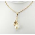 Pendentif Plaqué Or Gold Filled 14 K Swarovski Golden Shadow et Perle d'eau douce Blanche