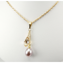Pendentif Plaqué Or Gold Filled 14 K Swarovski Golden Shadow et Perle d'eau douce Lavande
