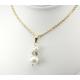 Pendentif Plaqué Or Swarovski Toupie Black Diamond et double Perle Blanche