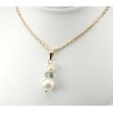 Pendentif Plaqué Or Gold Filled 14 K Swarovski Toupie Black Diamond et double Perle d'eau douce Blanche