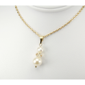 Pendant 14K Gold Filled Swarovski Golden Shadow Crystal and double White Freshwater Pearl