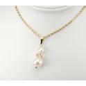 Pendentif Plaqué Or Gold Filled 14 K Swarovski Toupie Golden Shadow et double Perle d'eau douce Blanche