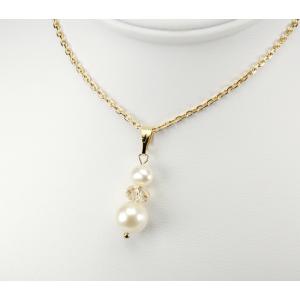 Pendentif Plaqué Or Swarovski Toupie Golden Shadow et double Perle Blanche