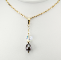 Pendant 14K Gold Filled Swarovski Aurora Borealis Crystal and Black Freshwater Pearl
