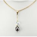 Pendentif Plaqué Or Gold Filled 14 K Swarovski Aurore Boréale et Perle d'eau douce Noire
