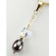 Pendentif Plaqué Or Swarovski Aurore Boréale et Perle Noire