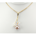 Pendant 14K Gold Filled Swarovski Disco Crystal with double White and Lavender Freshwater Pearl